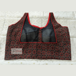 Brown Ajrak Sleeveless Blouse With Red Piping