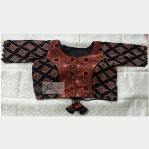 Brown And Black Ajrak Designer Blouse With Lace