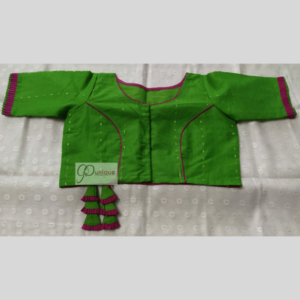 Green Jamdani Body With Brown Crisscross And Frill 1