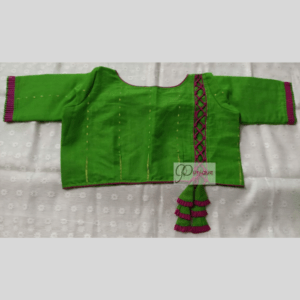 Green Jamdani Body With Brown Crisscross And Frill