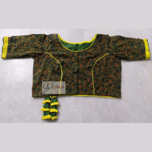 Green Red Flower Motive Ajrak Blouse With Yellow Piping Frill And Latkan 1