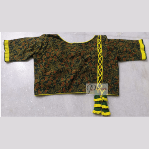 Green Red Flower Motive Ajrak Blouse With Yellow Piping Frill And Latken