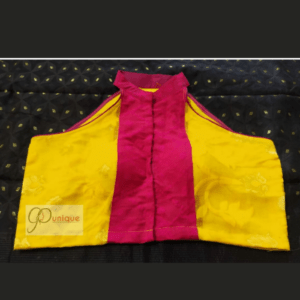 Jamdani Yellow Sleeveless Blouse With Magenta Work