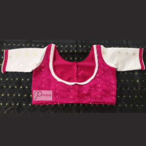 Magenta Jamdani Body With White Jamdani Sleeves Blouse 1