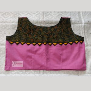 Pink Khadi With Black Piping And Green Ajrak Sleeveless Blouse 1