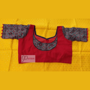 Red Khadi Body With Ajrak Sleeves And Neck Design Blouse
