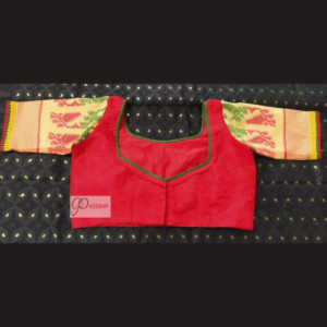 Red Jamdani Body With Light Yellow Sleeves Blouse