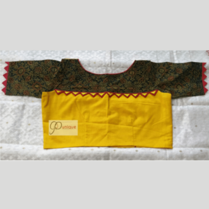 Yellow Khadi Body With Green Ajrak Fabric Sleeves Blouse