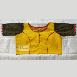 Yellow Khadi Body With Green Ajrak Fabric Sleeves Blouse 1