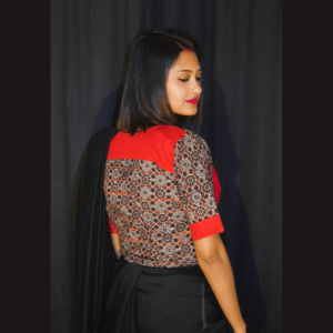 Black Grey Combination Ajrak With Red Khadi Croptop Blouse 1