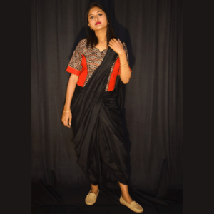 Black Grey Combination Ajrak With Red Khadi Croptop Blouse