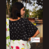 Black Ikkat With White Work Kaftan Sleeves Blouse With Frill In The Sleeves 4