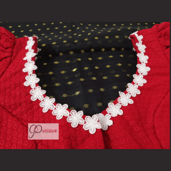 Red Hakoba Blouse With White Flower Lace 2