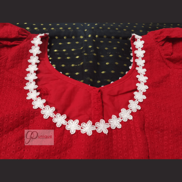 Red Hakoba Blouse With White Flower Lace 3