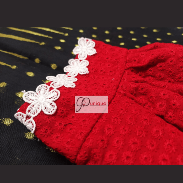Red Hakoba Blouse With White Flower Lace 4