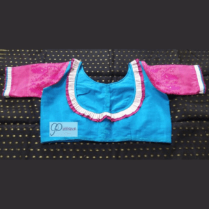 Sky Blue Jamdani Body With Pink Jamdani Sleeves And Neck Frill Blouse