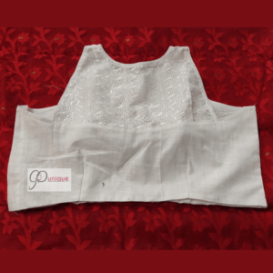 White Khadiand White Chikan Mixed Sleeveless Blouse