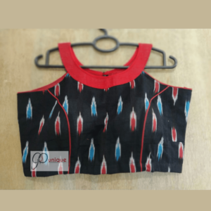 black ikkat sleeveless blouse with red blue work 1