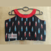black ikkat sleeveless blouse with red blue work