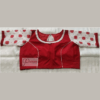red cotoon silk body with red white jamdani flower motive sleeves blouse 1(1)