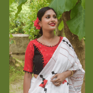 red and black combination jamdani blouse with pompom balls 3