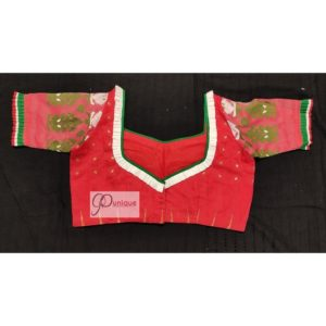 red jamdani body with white green work with 3layer frill blous1e