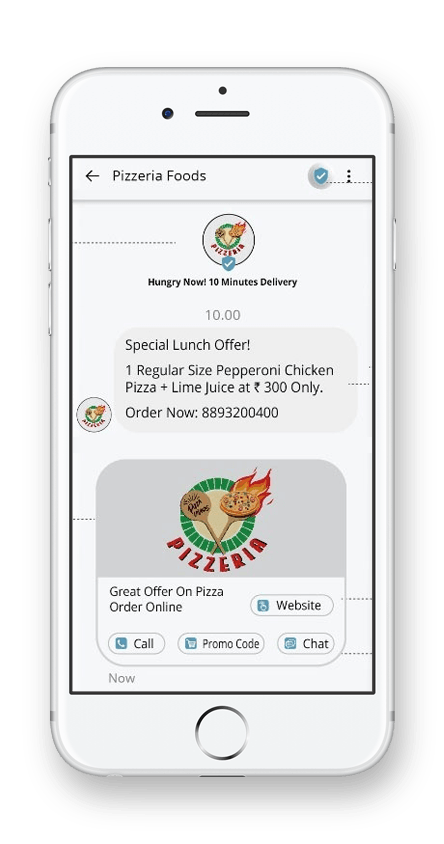 rcs message sample demo for pizza shop