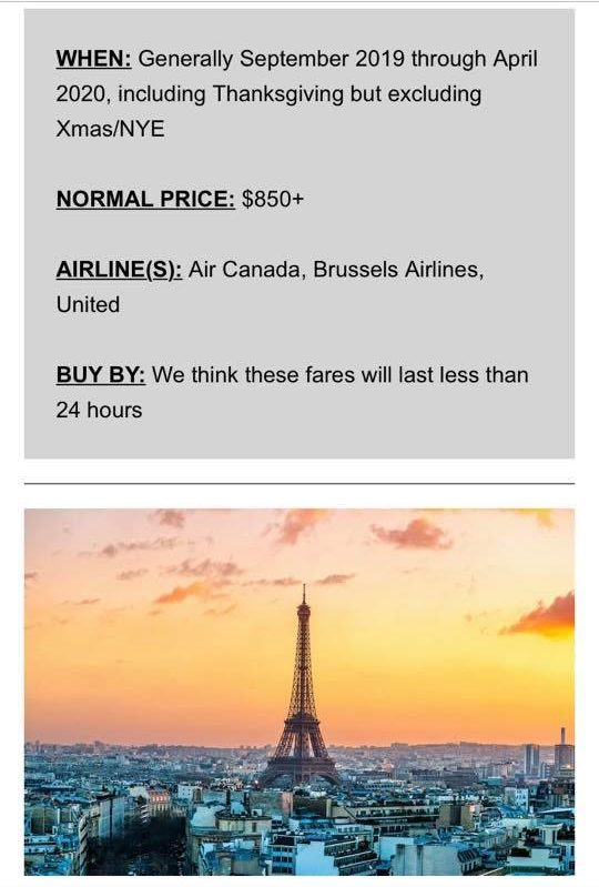 Sample of Scott's Cheap Flights email showing the normal price of airfare compared to the sale price and how long the deal is expected to last. Great example of a resource to use for how to travel more!