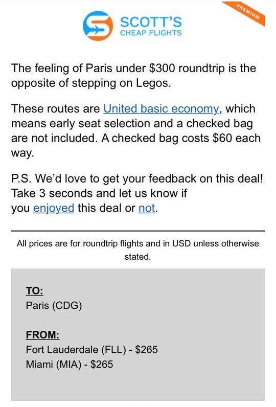 Sample email from Scott's Cheap Flights listing where the sale airfare is to and from