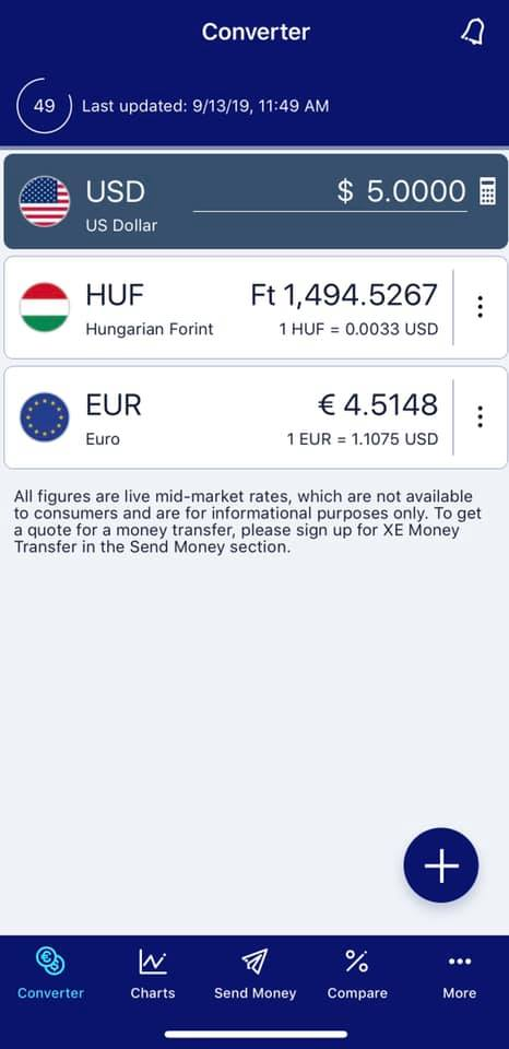 Screenshot of XE currency app showing USD currency amount compared to HUF and euros. One of the best travel apps for Europe!