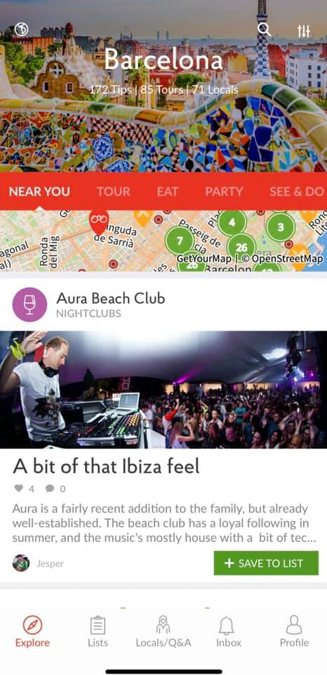 screenshot of like a local app showing main page