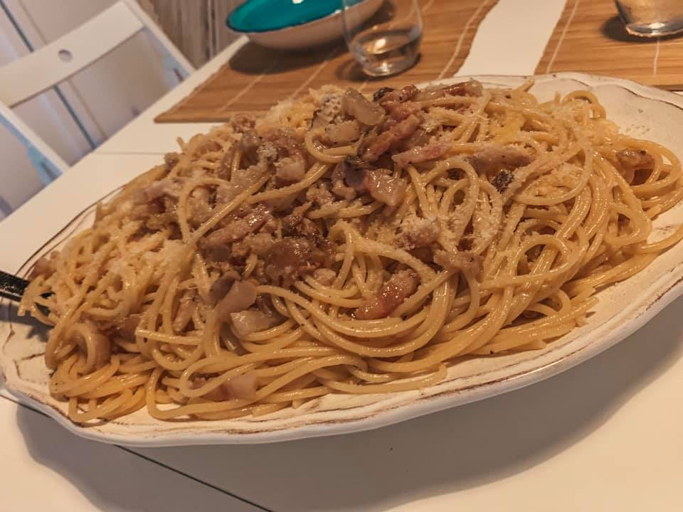 A huge plate of homemade bolognese pasta