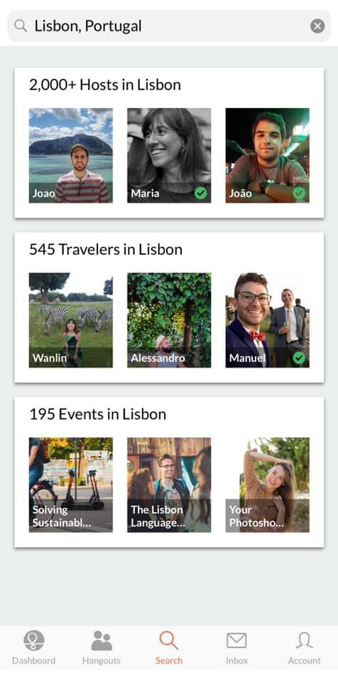 screenshot of the couchsurfing app that shows options as far as hosts, fellow travelers, and events