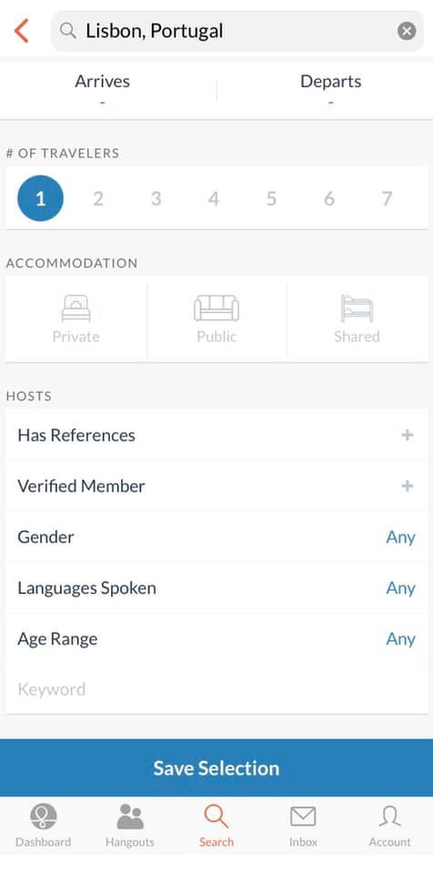 screenshot of the couchsurfing app that shows filters you can select during your search for a host