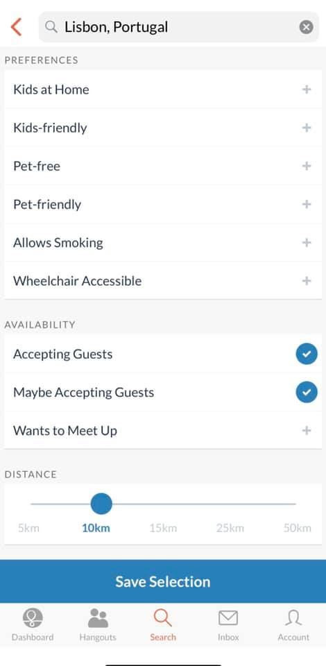 screenshot of couchsurfing app that shows the filters you can select when attempting to pick out a host