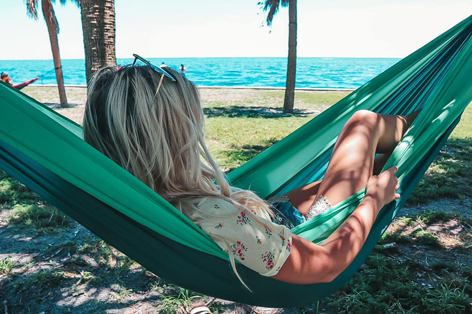 Relaxing on a hammock at Vinoy Park