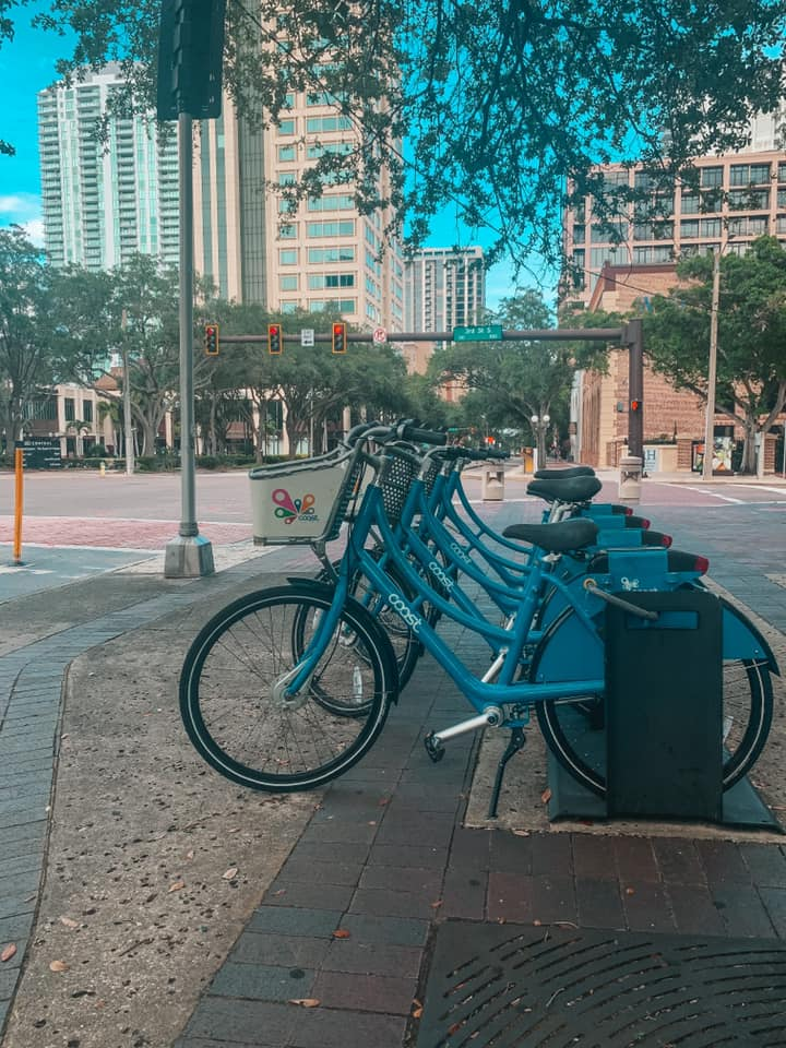 Bicycles for rent lined up in downtown St. Petersburg