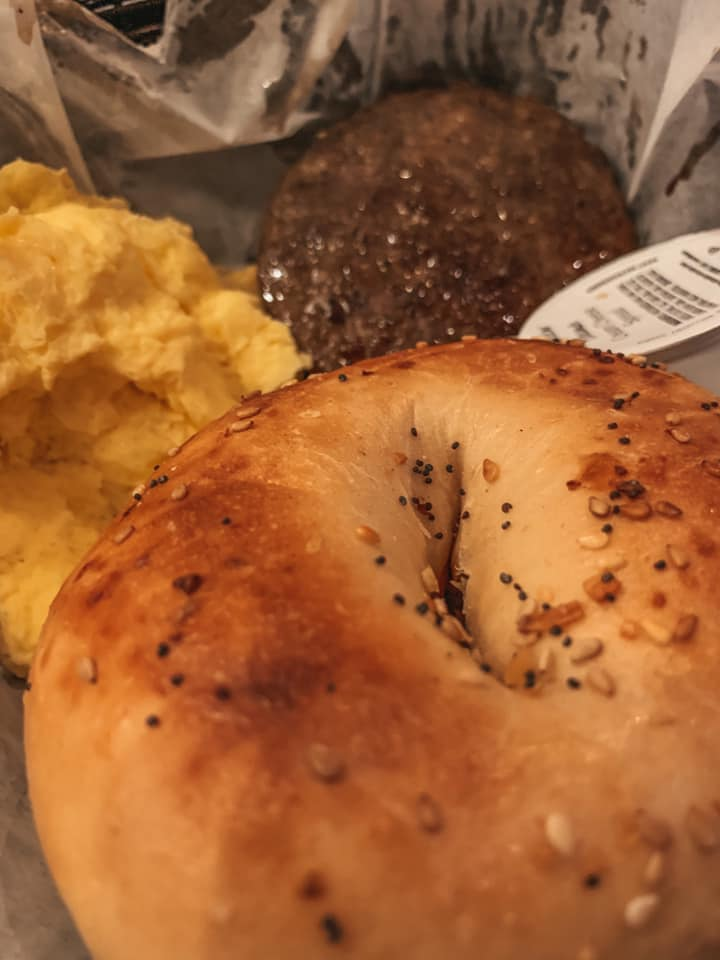 everything bagel, sausage, and eggs from Mean Mug