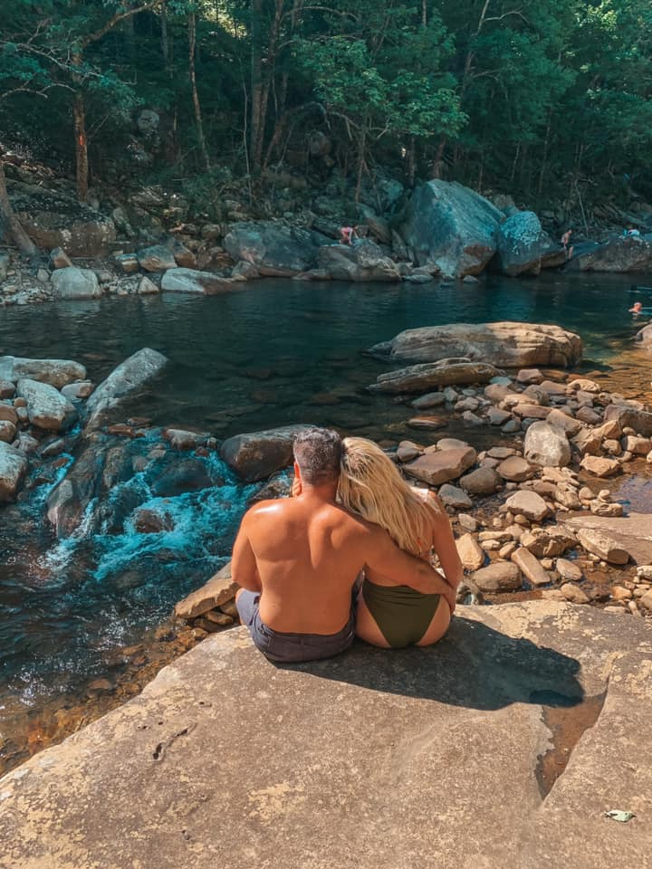 Destiny and Remi enjoying the views of North Chick Blue Hole