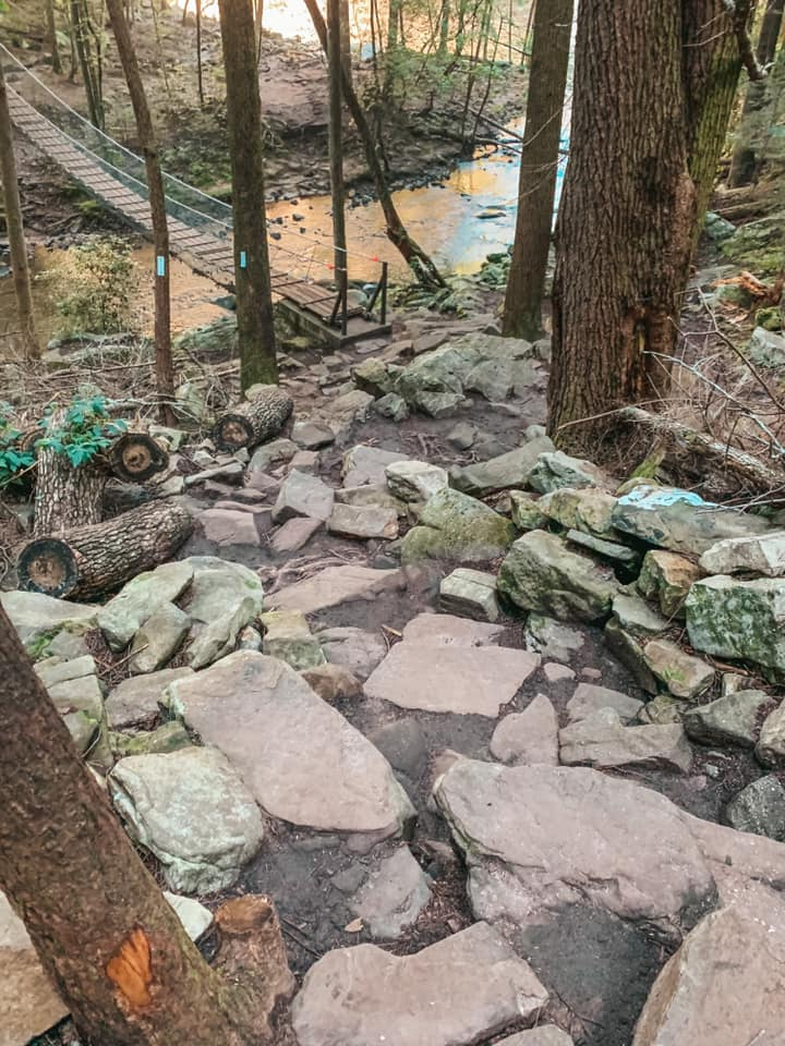 View of rocky trail at Foster Falls