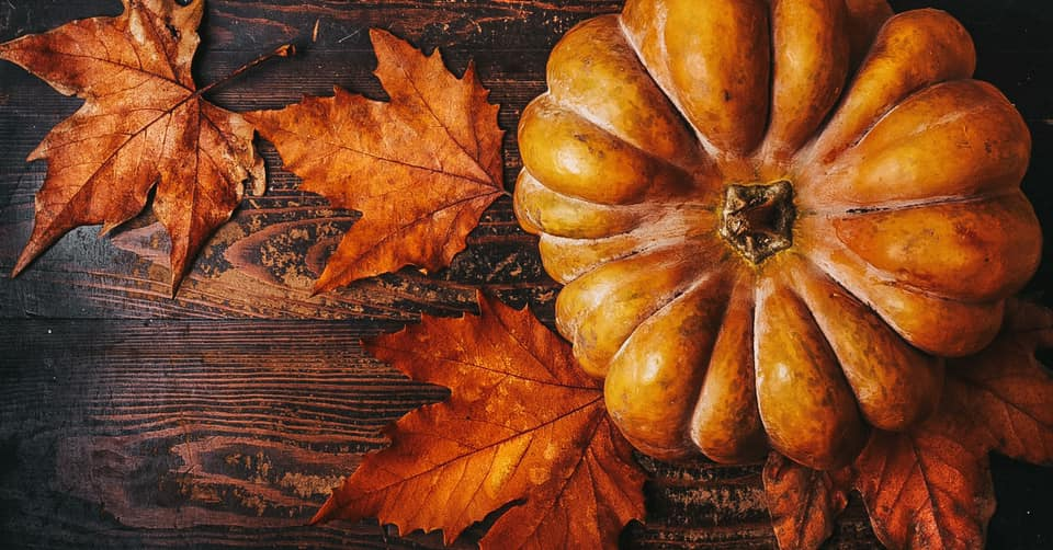 Fall aesthetic: pumpkin and some orange leaves