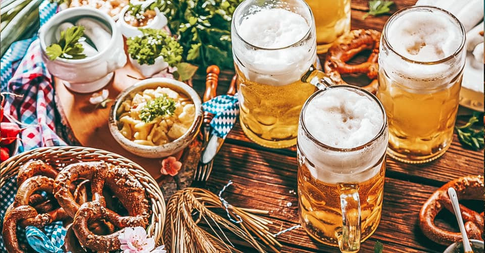 Oktoberfest flat lay with beer and German food