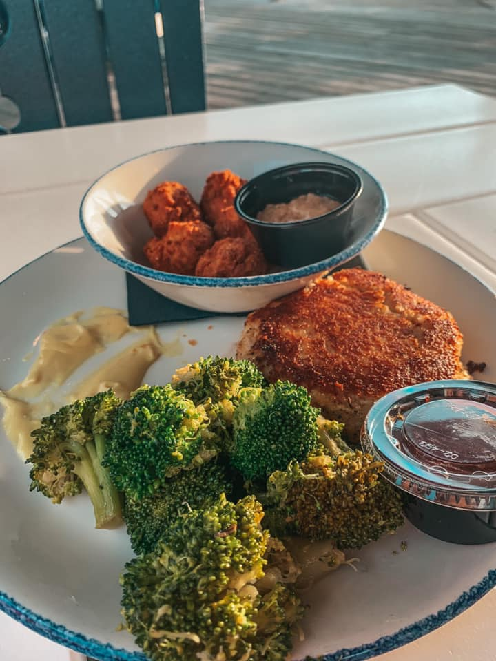 Crab cake dinner from The Wharf