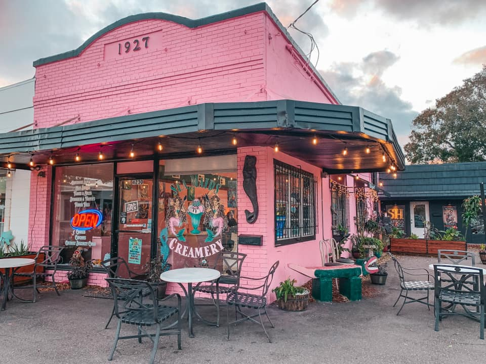 Pretty pink building that houses Seamaids Creamery