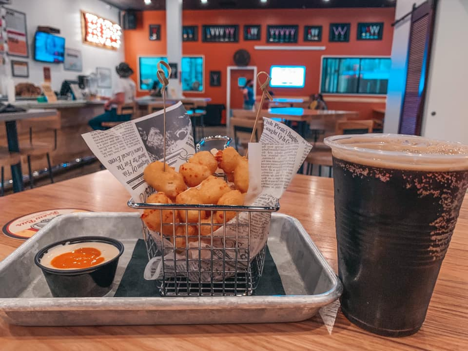 Fried cheese curds and beer at Brew Bus