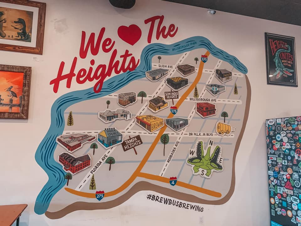 We love the Heights mural at Brew Bus