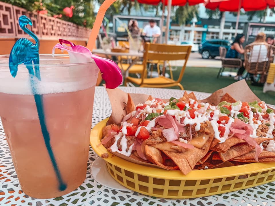 Seafood nachos and a fun cocktail from No Vacancy in Downtown St. Pete