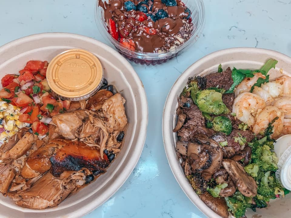 Chicken bowl, surf and turf bowl, and acai bowl from Harvest Bowl and Eatery in Seminole Heights
