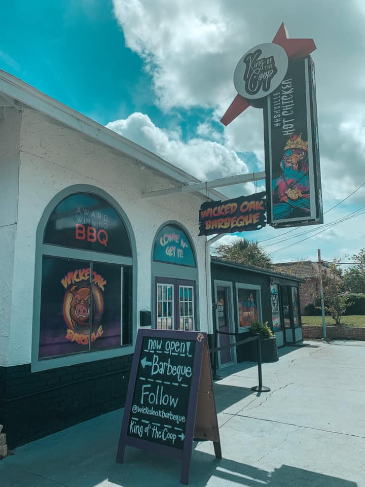 Front of King of the Coop and Wicked Oaks entrance