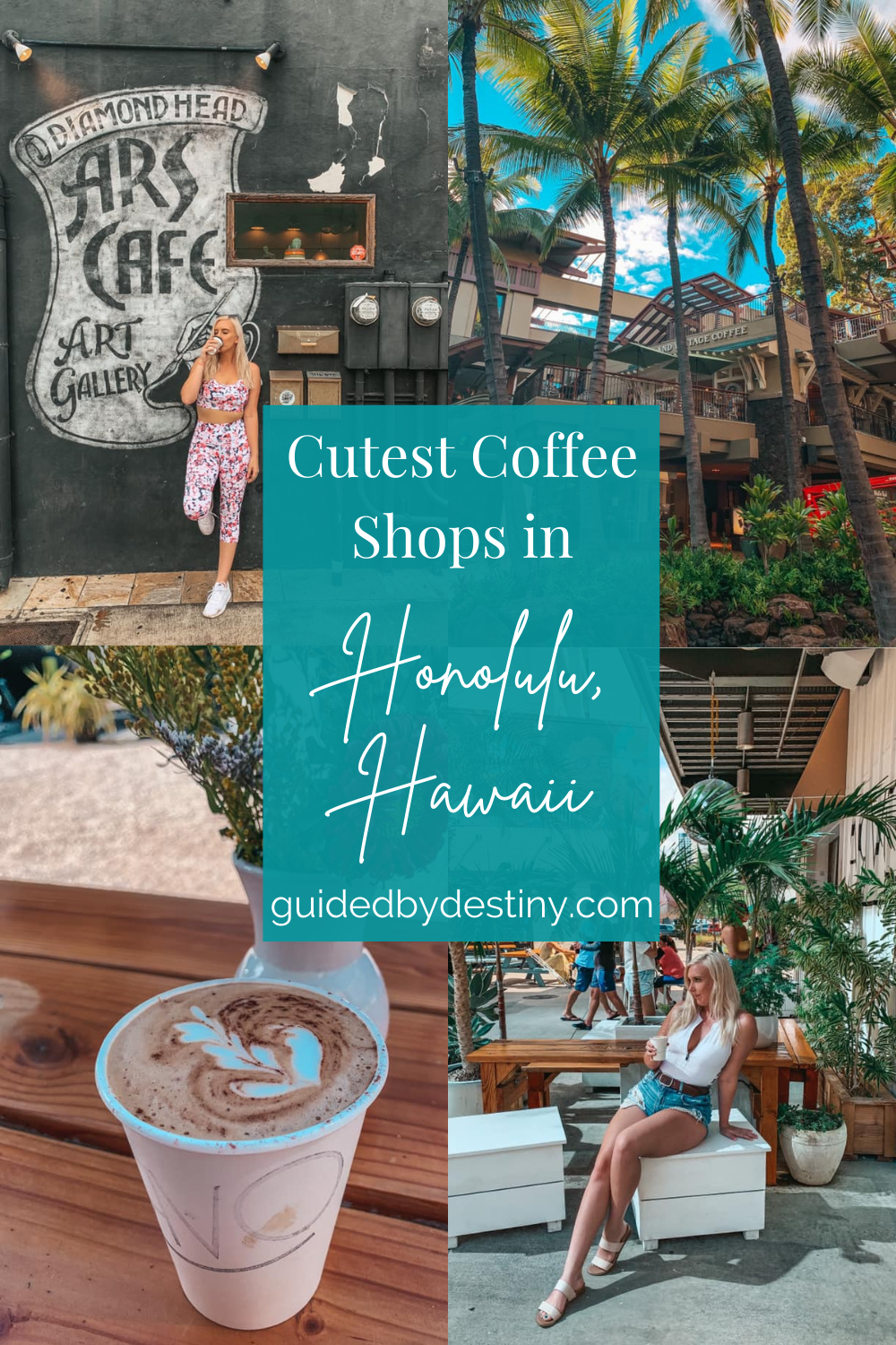Cutest coffee shops in Honolulu, collage of coffee shop pics used in this post